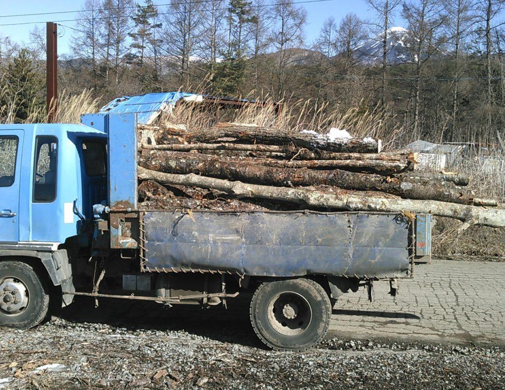 4トンダンプの原木