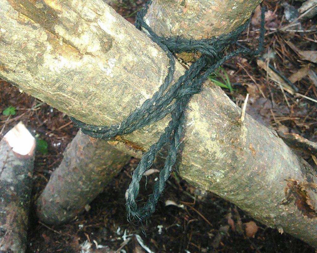 シイタケ原木の杭うち