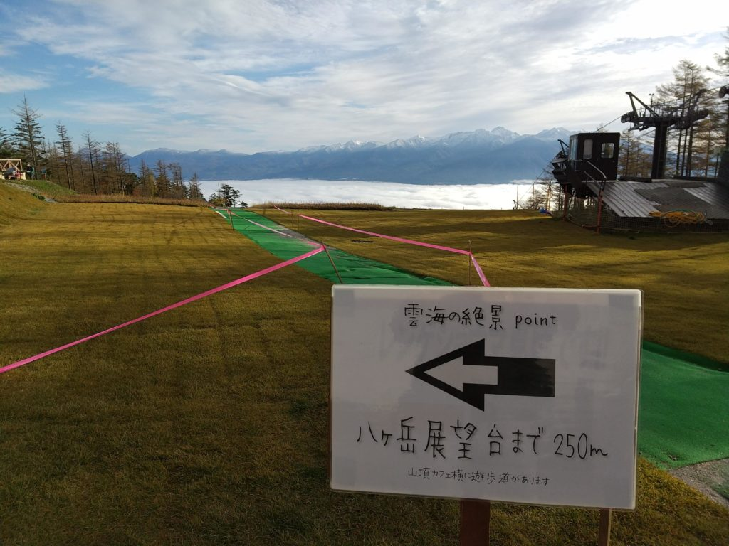 雲海の絶景ポイントまで250m