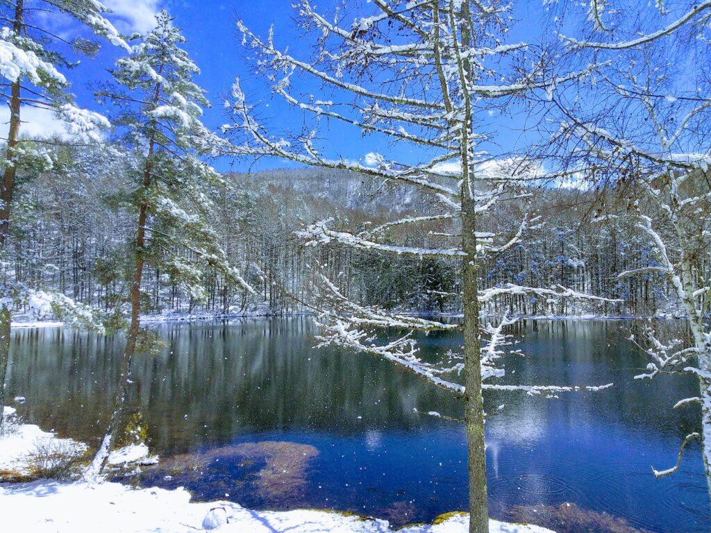3月に雪が降る御射鹿池