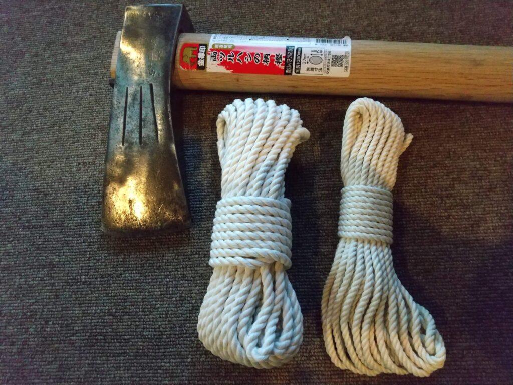 材料はロープのみ