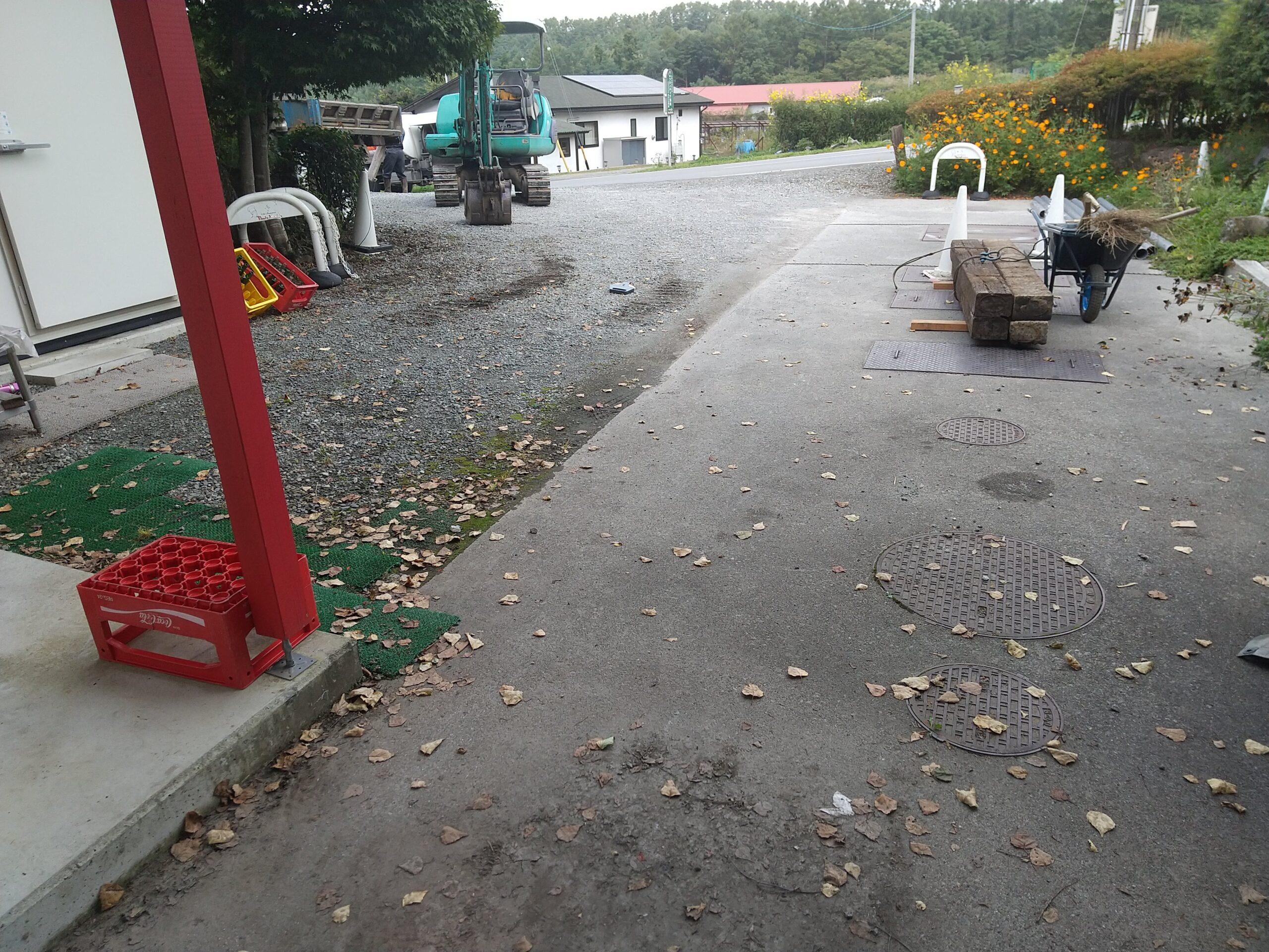 水のたまる駐車場